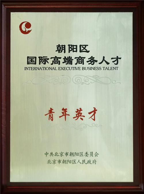 集团总经理隗建华先生被评为2016年朝阳区 国际高端商务人才青年英才