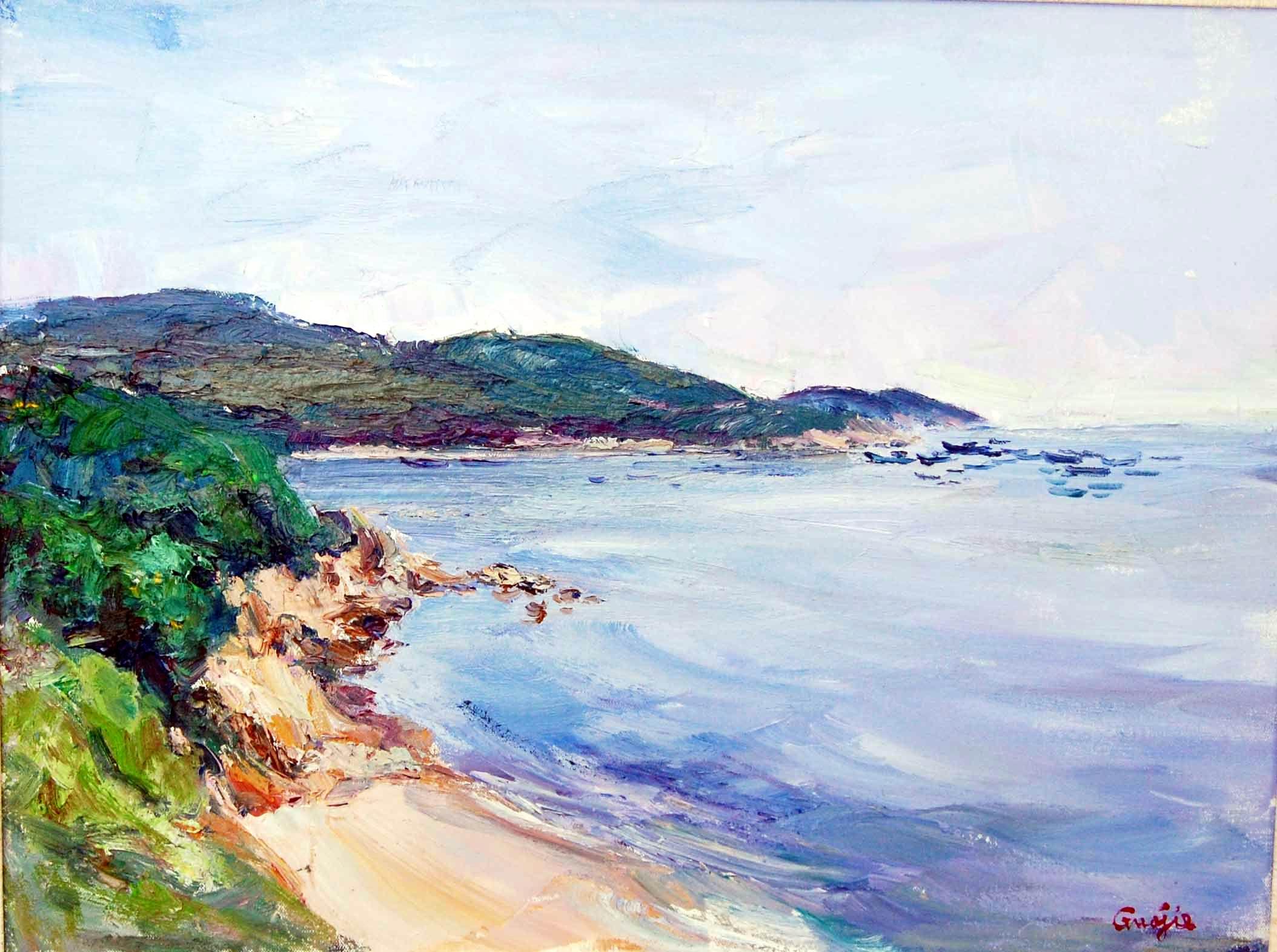此幅作品为一副风景油画作品,作品蓝绿色为基调,通过大块面的手法表现