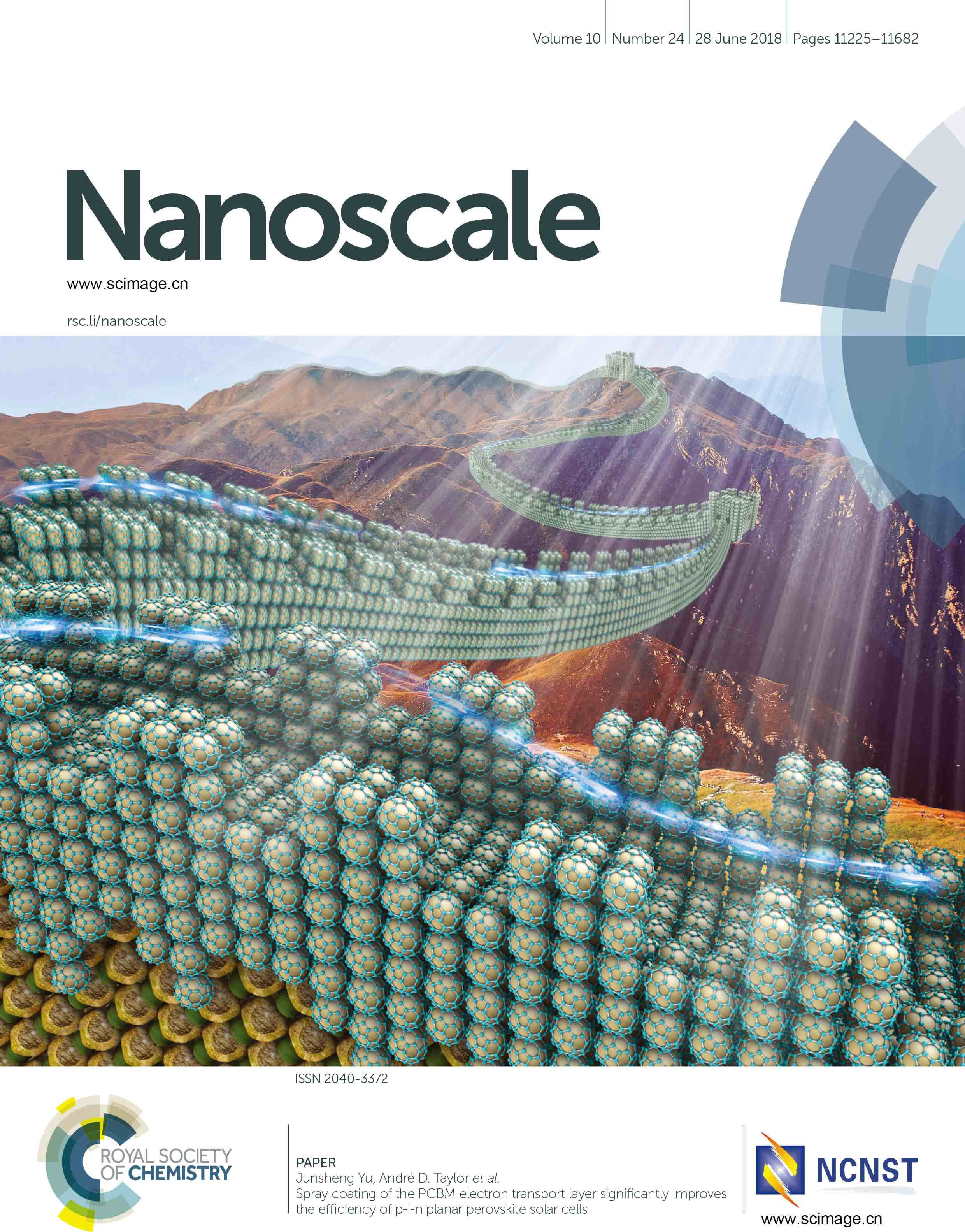 Spray coating of the PCBM electron transport layer significantly improves the efficiency of p-i-n planar perovskite solar cells