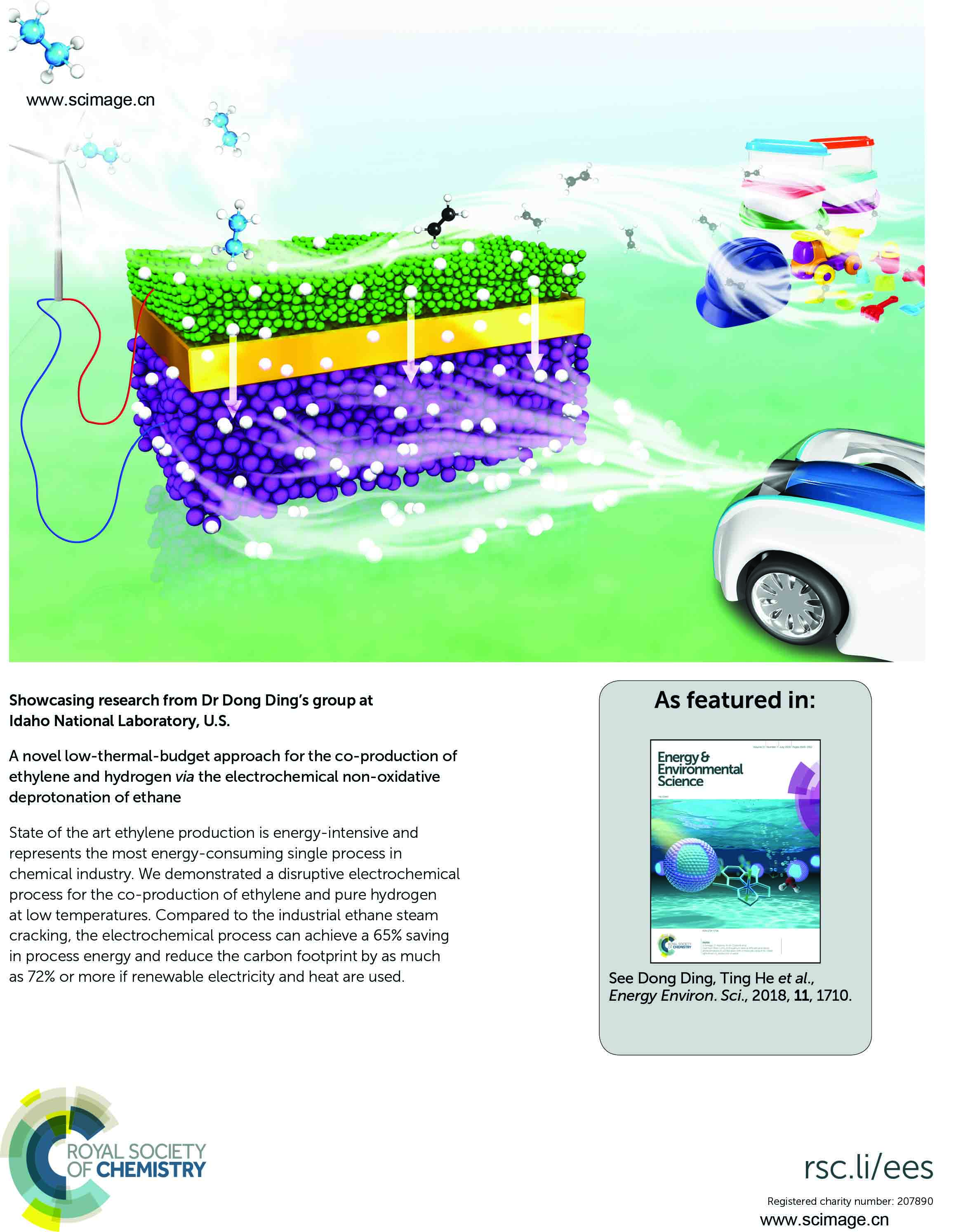 A novel low-thermal-budget approach for the co-production of ethylene and hydrogen via the electrochemical non-oxidative deprotonation of ethane
