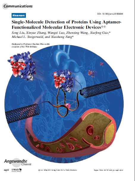 Single-Molecule Detection of Proteins Using Aptamer-Functionalized Molecular Electronic Devices