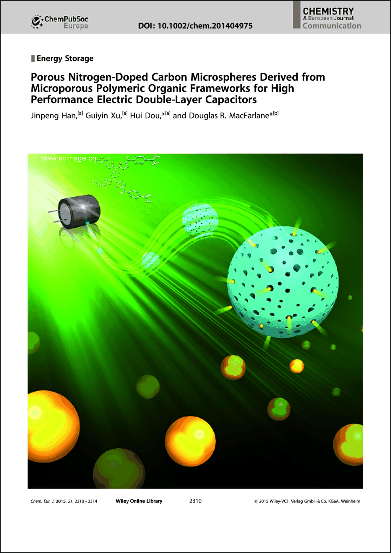 Frontispiece: Porous Nitrogen-Doped Carbon Microspheres Derived from Microporous Polymeric Organic Frameworks for High Performance Electric Double-Layer Capacitors