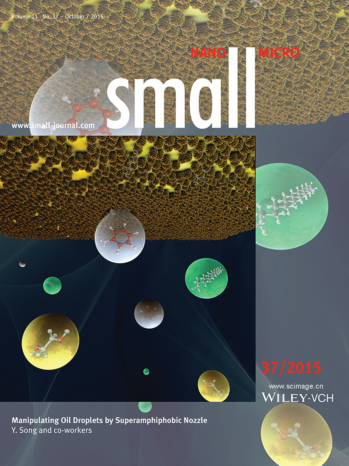 Oil Droplets: Manipulating Oil Droplets by Superamphiphobic Nozzle (Small 37/2015) (page 4988)