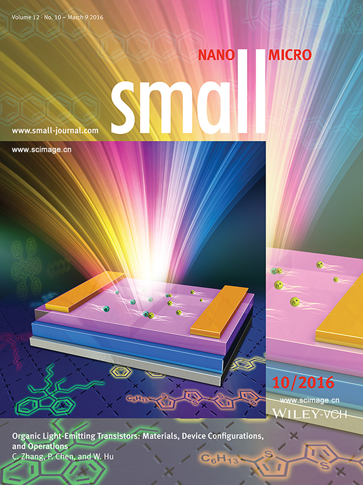 Organic Light-Emitting Transistors: Organic Light-Emitting Transistors: Materials, Device Configurations, and Operations (Small 10/2016) (page 1392)