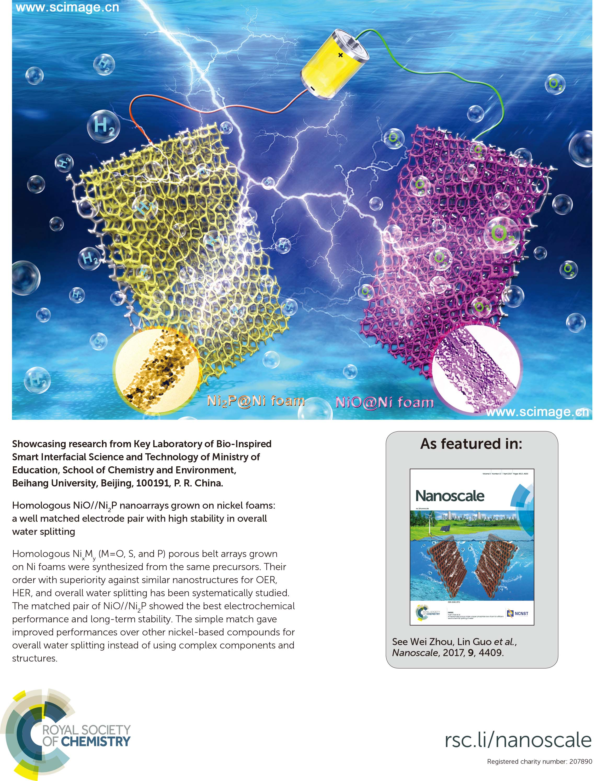 Homologous NiO//Ni2P nanoarrays grown on nickel foams: a well matched electrode pair with high stability in overall water splitting