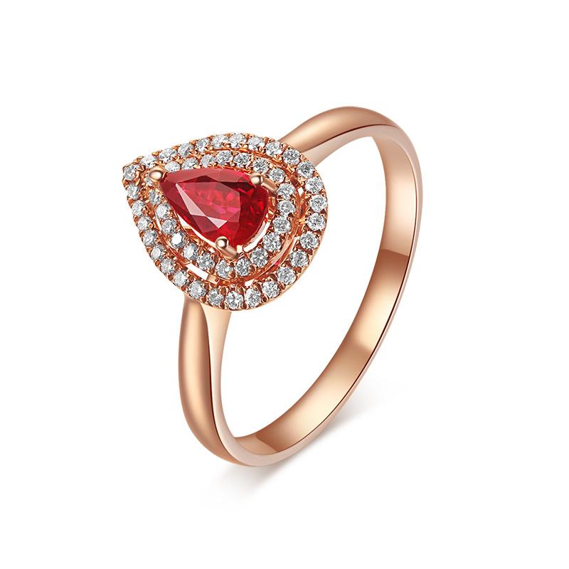 [ 倾城] 18K金红宝石钻石戒指 SR025