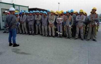 珠海福陸重工2#涂裝車間項目班前會