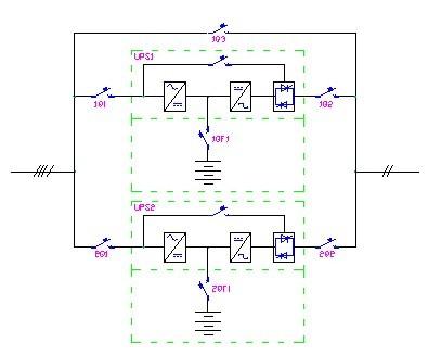 图3  1 1模块并机ups系统电路图 e,普通ups的配置 在一些比较好的