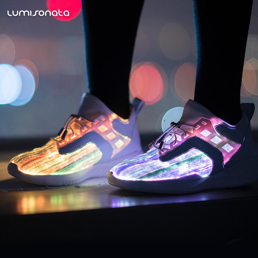 新款发光鞋 高帮七彩发光光纤鞋