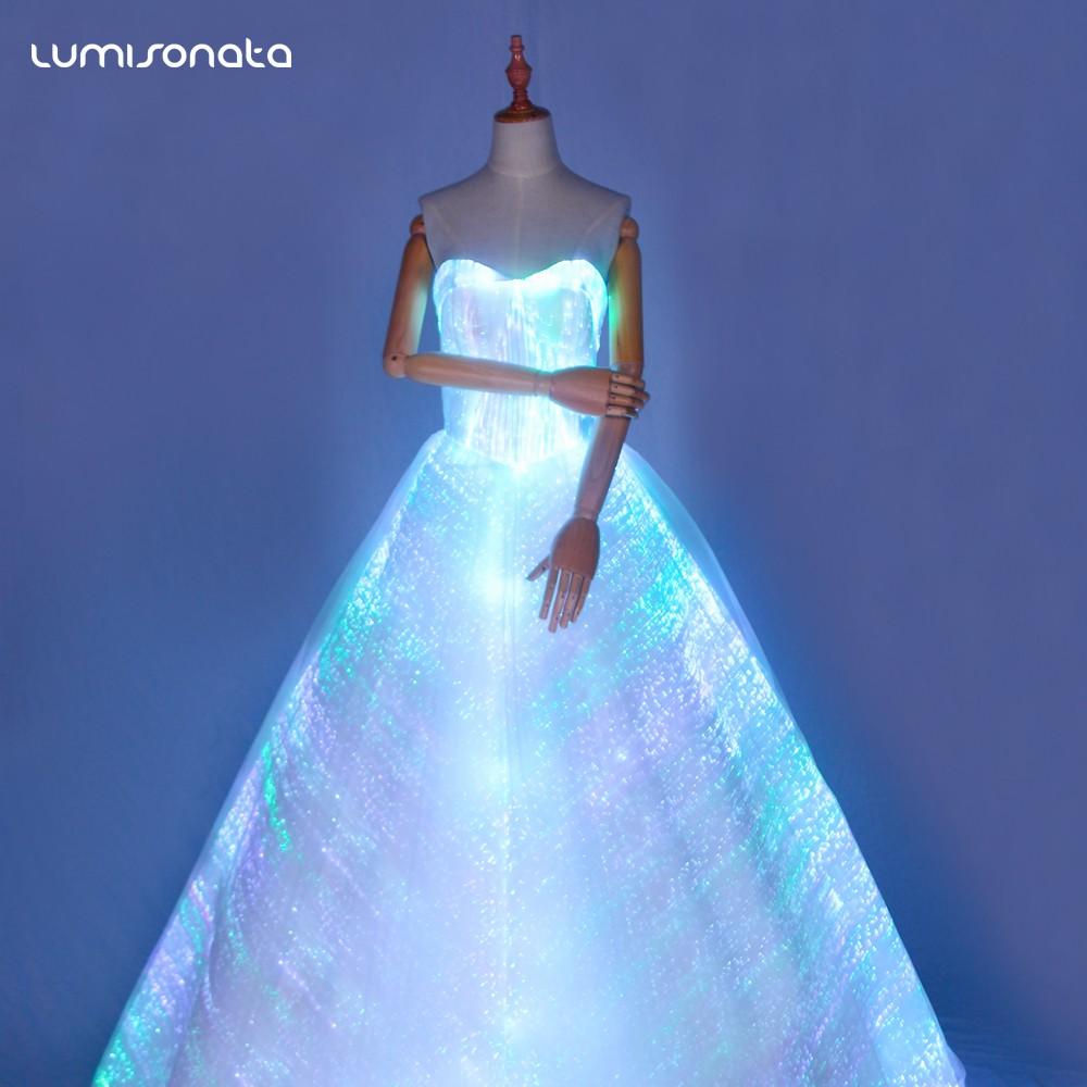 发光晚礼服定制,光纤发光礼服婚纱