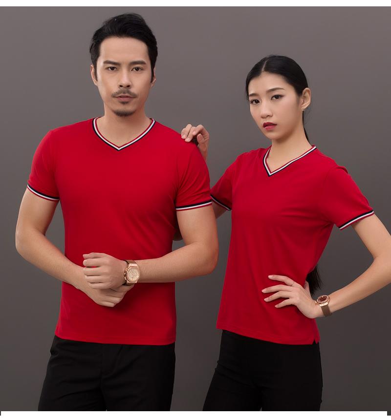 8003#珠花V领短袖T恤定制