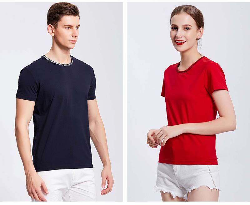 9002#欧根棉间色圆领T恤定制