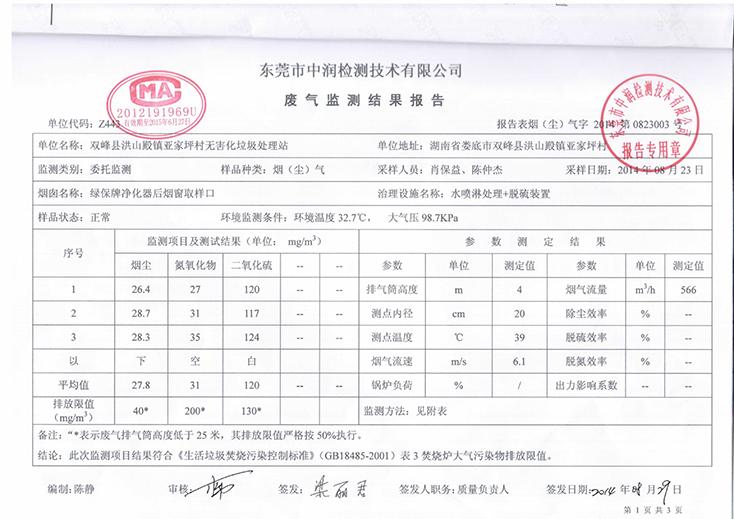 湖南亚家坪检测报告2