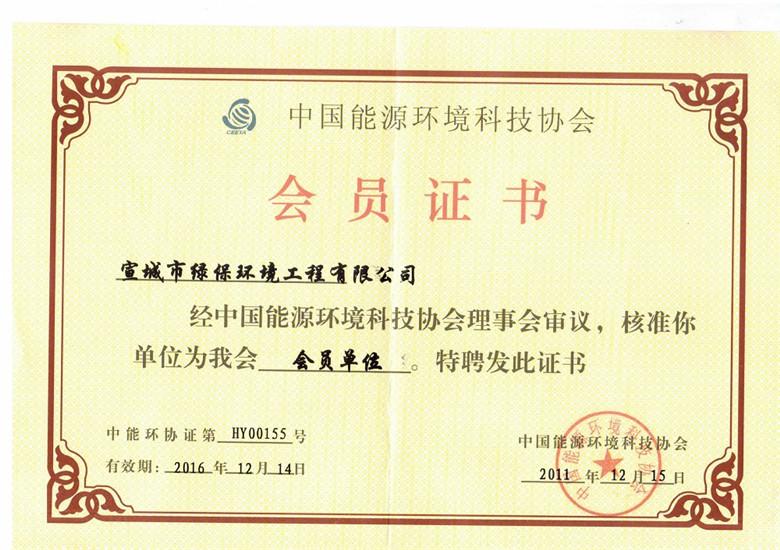 中国能源环境科技协会会员证书