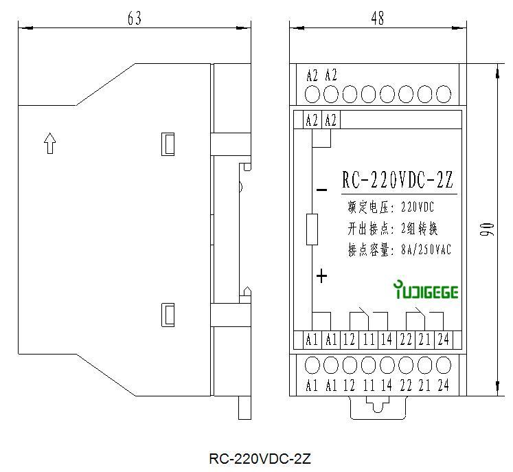 额定电压(U_N):220VDC、110VDC、48VDC、220VAC等; 接点容量(阻性):8A/250VAC,8A/30VDC(性能曲线见图1); 开出接点类型:2Z(转换接点)、4Z、6Z、8Z等 ; 产品功耗:2W; 动作电压:(55%~65%)U_N; 动作时间:8mS; 返回时间:5mS; 绝缘电阻:输入、输出之间20M,输入或输出有外壳之间100M; 介质耐压:线圈与触点间5000VAC/1min,断开触点间1000VAC/1min,漏电流5mA;