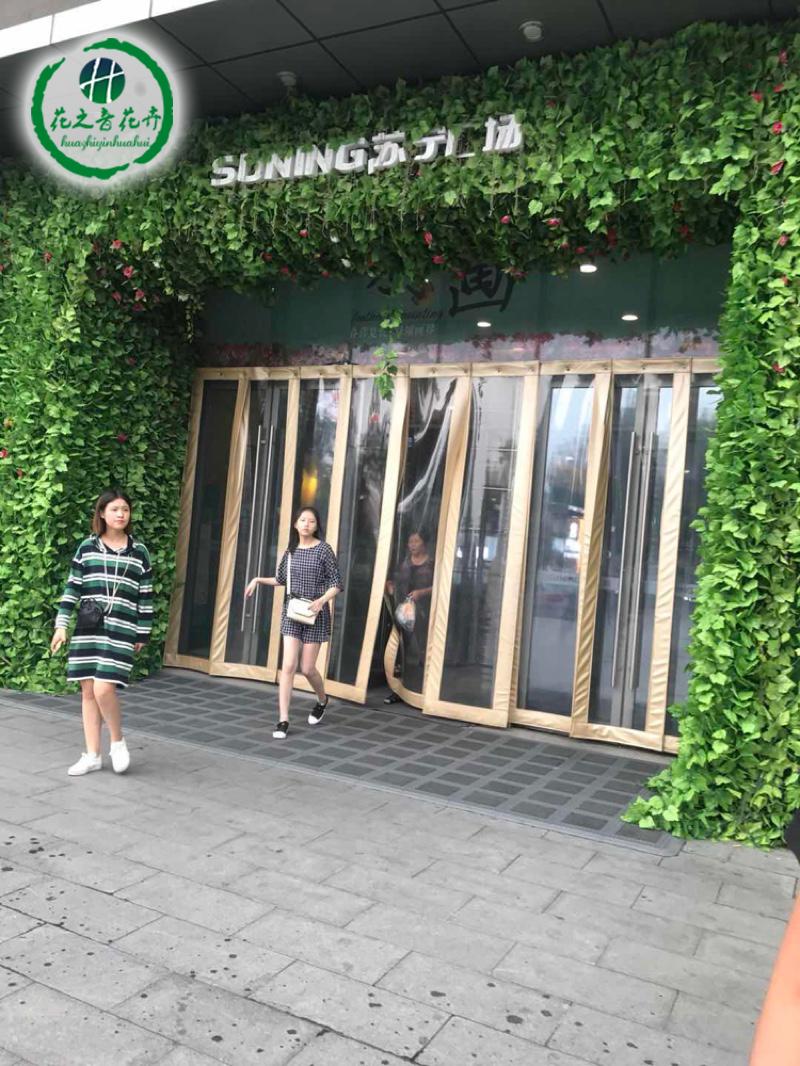 苏宁广场门店内外仿真植物装饰