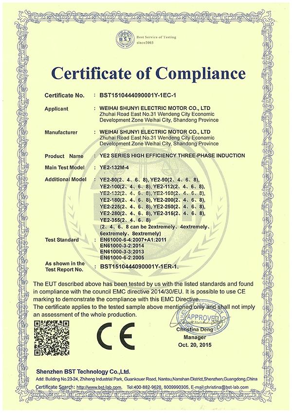 YE2系列CE认证