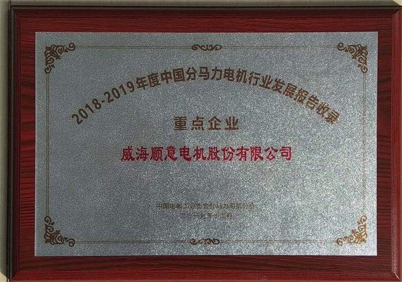 2018-2019年度中国分马电机行业发展报告收录