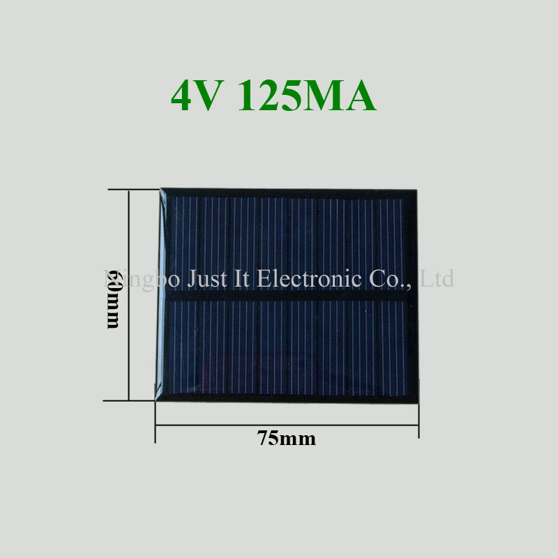 4V 125mA 0.5W 75*60mm Polycrystalline Epoxy Resin Solar Module