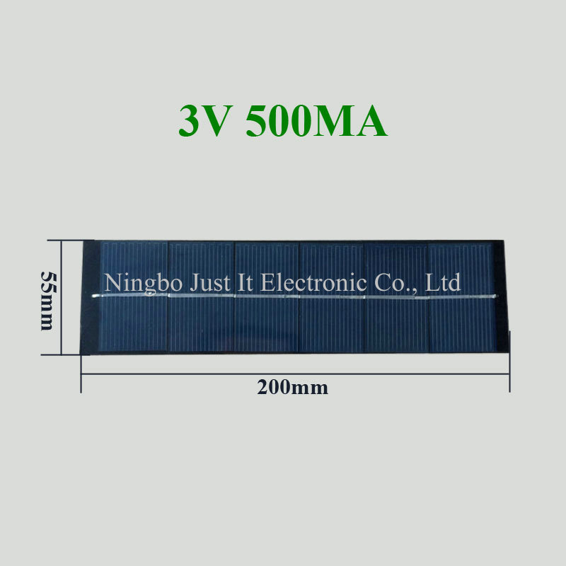 3V 500mA 1.5W 200*55mm PET Laminated Solar Panel