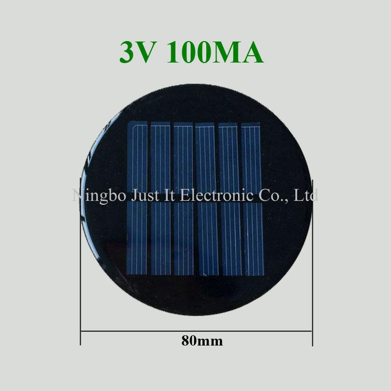 3V 100mA Diameter 80mm Epoxy Resin Round Shape Solar Cell
