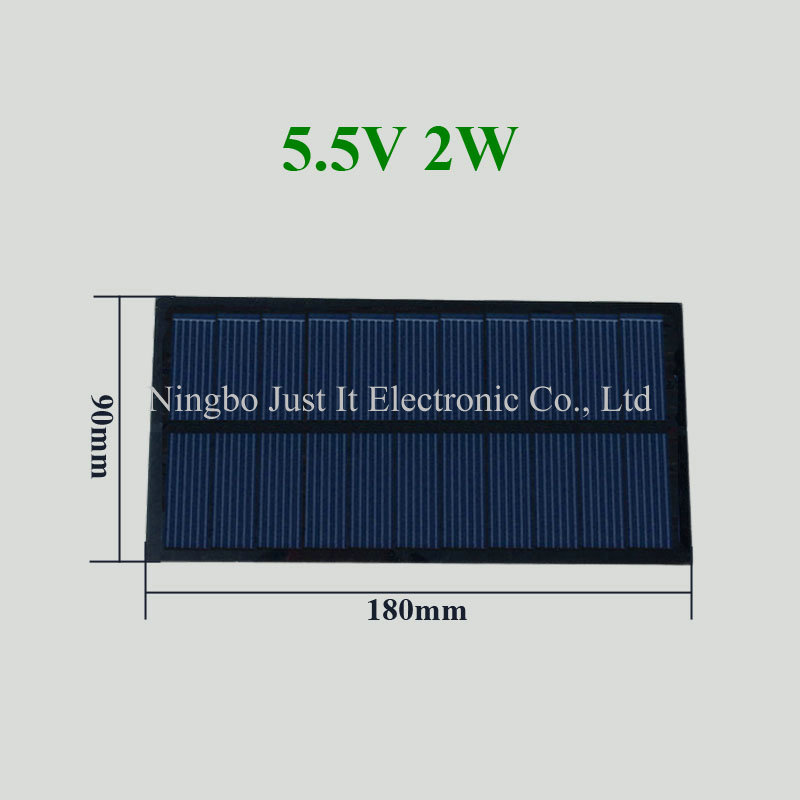 5.5V 365mA 2W 180*90mm Polycrystalline PET Solar Panel