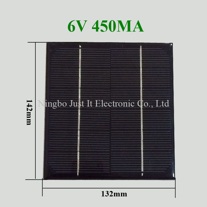 6V 450mA 2.7W 132*142mm Monocrystalline Epoxy Solar Panel