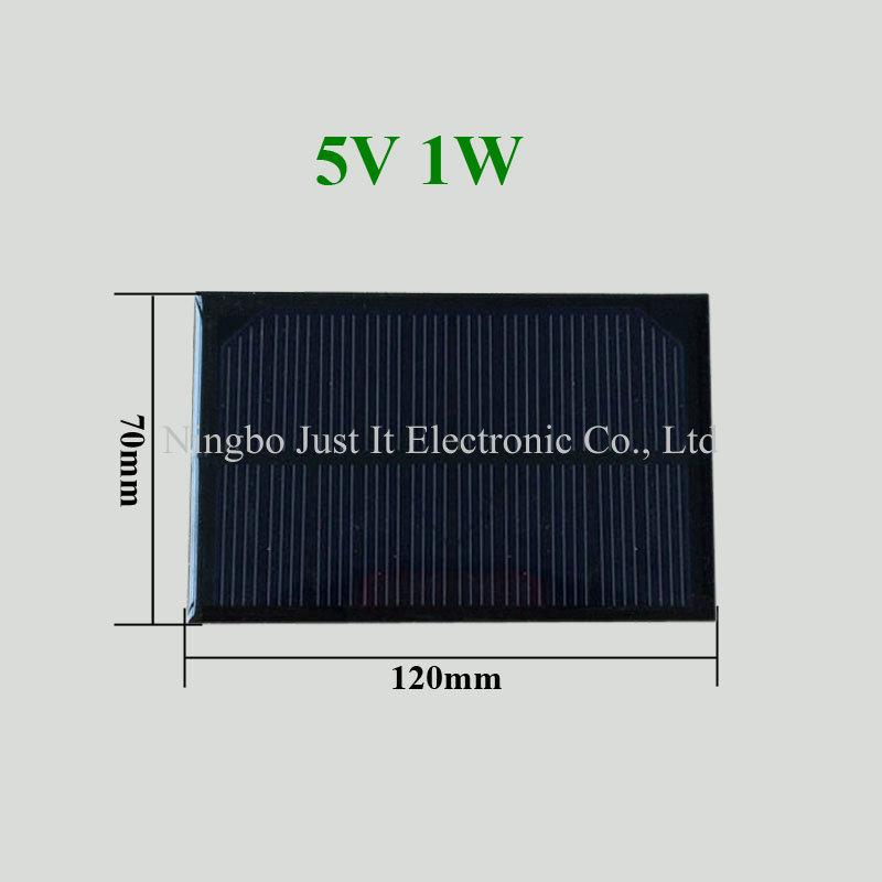 5V 200mA 1W 120*70mm Monocrystalline Epoxy Mini Solar Cell