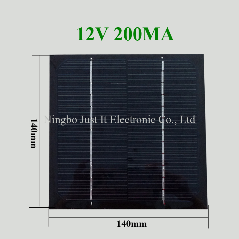 12V 200mA 140*140mm PET Laminated Solar Panel