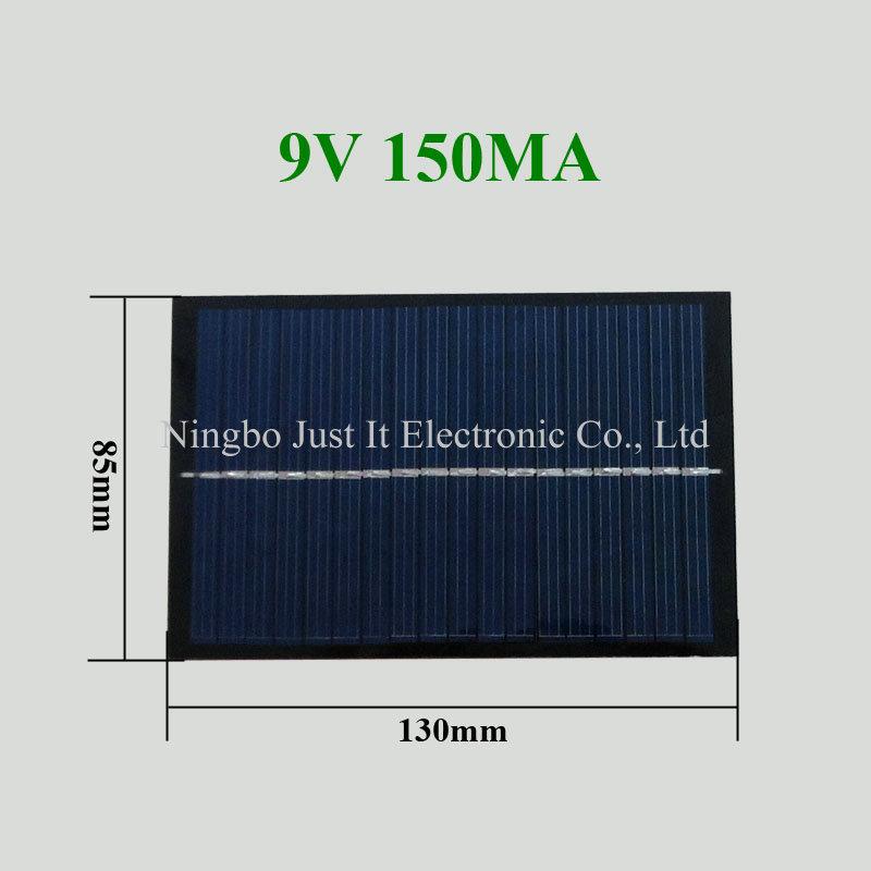 9V 150mA 1.35W 130*85mm Polycrystalline PET Solar Panel