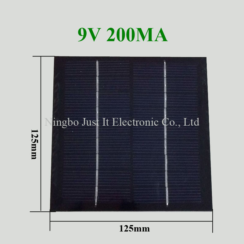 9V 200mA 1.8W 125*125mm PET Laminated Small Solar Cell