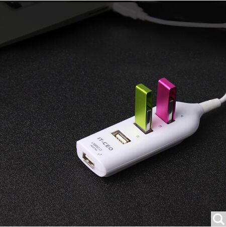 IT-CEO V4HUB-1S USB2.0高速扩展4口HUB集线器 台式机笔记本电脑一拖四USB分线器 0.5米 白色