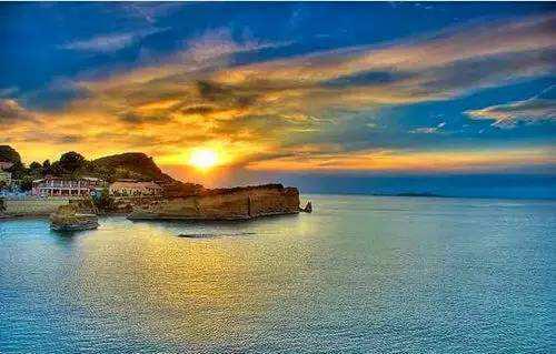 希腊海边夕阳