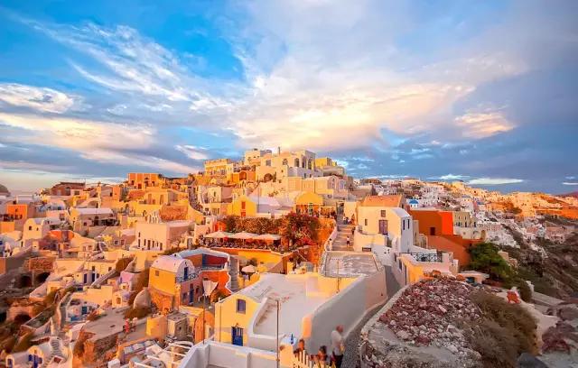 希腊黄昏美景图