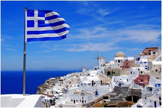 希腊海边与蓝天