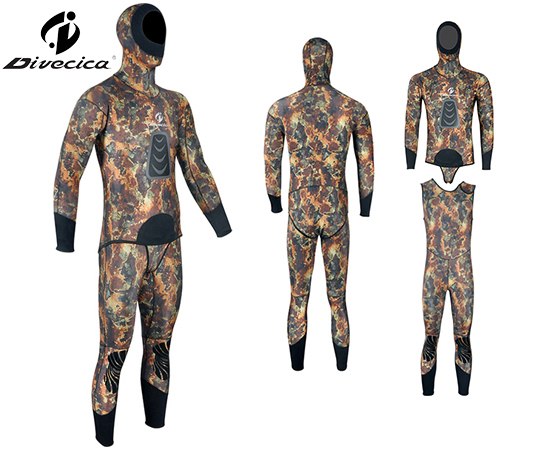 WS-6001 HOODED CAMOUFLAGE SPEARFISHING WETSUIT