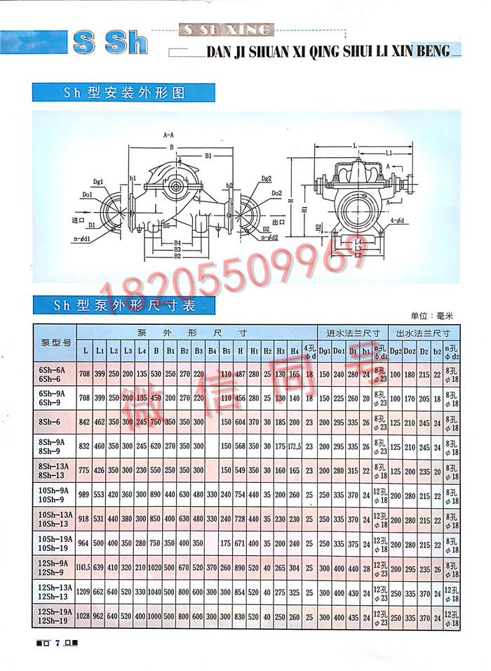 SH双吸泵尺寸图