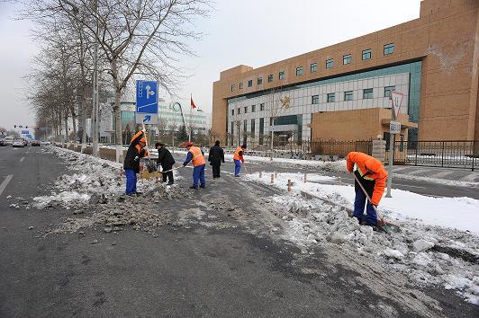 齐心协力 扫雪铲冰