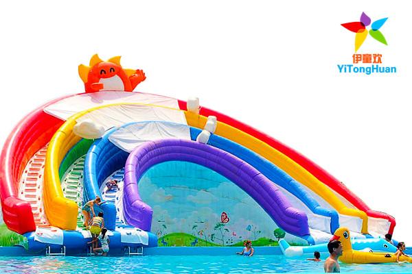 充气彩虹滑梯
