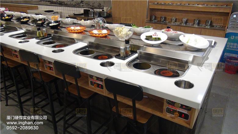 旋转烤涮一体餐厅火锅烧烤一体桌