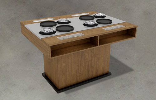 火锅烤肉一体桌,一人两锅,木作柜体,不锈钢台面,透明玻璃可视