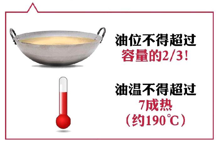油位不得超过容量的三分之二,油温不得超过7成热