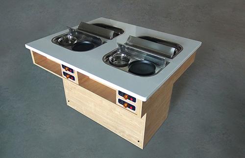 带排烟系统火锅烧烤桌,可排烟,一人两锅,可火锅可烤肉