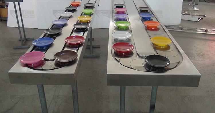 各种款式回转寿司设备机台搭配寿司碟餐具对比