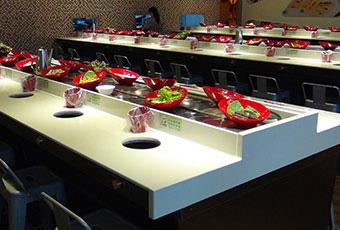 旋转小火锅设备,回转寿司设备,回转烤涮一体设备(旋转火锅+烤肉)