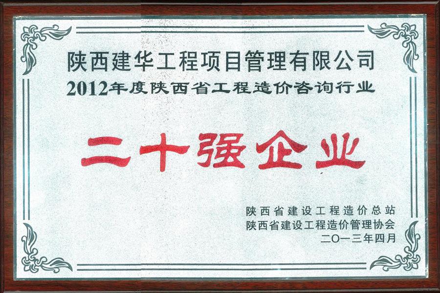项目公司2012年工程造价咨询行业二十强企业2013.04