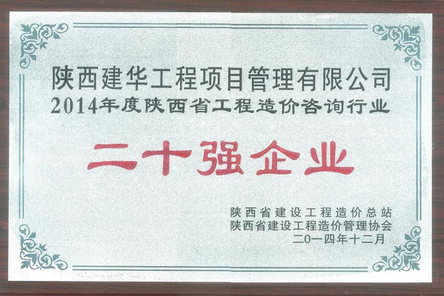 项目公司2014年工程造价咨询行业二十强企业2014.12
