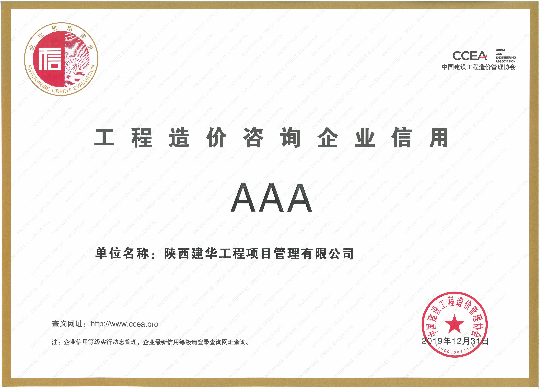 项目公司信用3A证书