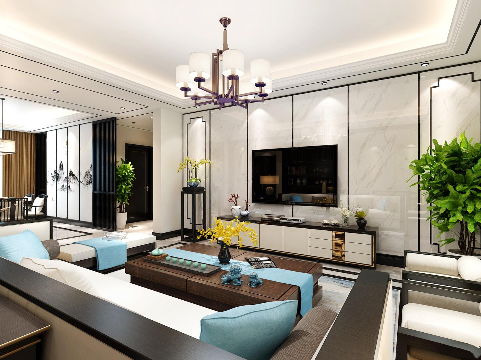上饶装修设计--家装别墅新中式风格