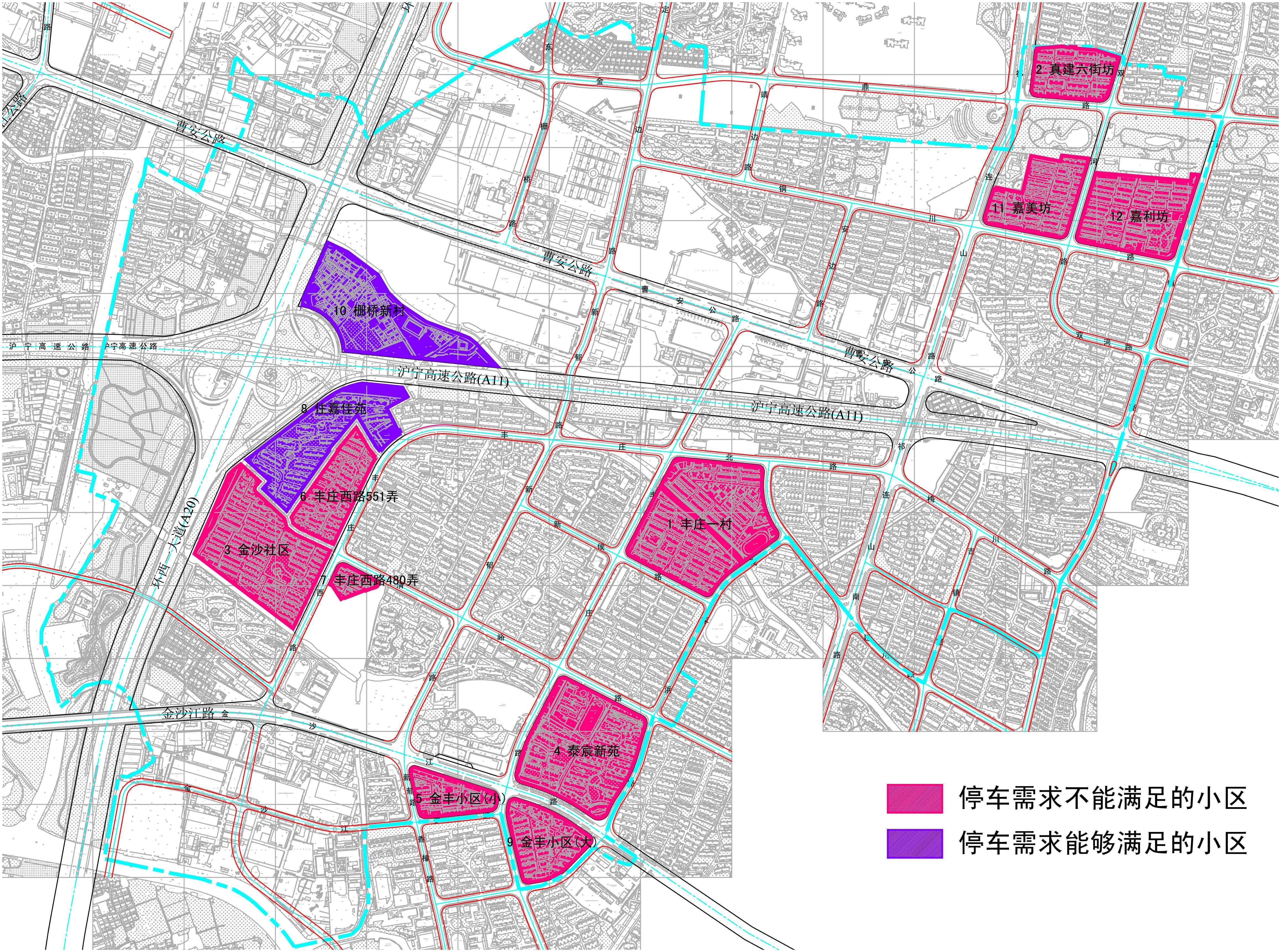 部分住宅配建停车泊位分析图